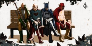 The Flash, Batman, Superman and Aquaman, sitting on a park bench. A geek art depicting seasoned superheroes at retirement. The piece is called We Were Heroes.
