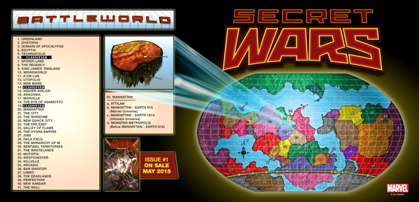 A map of Battleworld, where 'Secret Wars' takes place